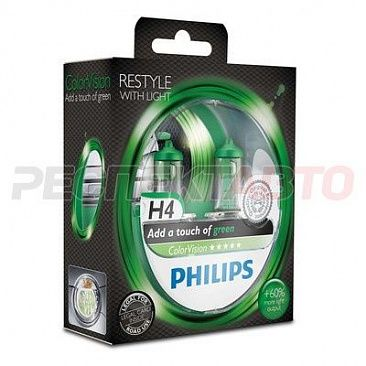 Лампа галогенная Philips H4 12V 60/55W 3350K Color Vision Green (2шт)